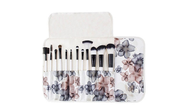12pc Professional Makeup Brush Set with Floral Pouch