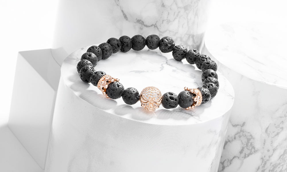 Sasha Morel - Lavastone Skull and Crown Bracelet