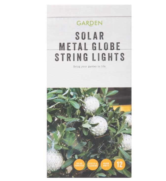 Metal Globes Garden Solar String Lights