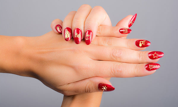 Mixed Style 3D Gold Christmas Nail Art