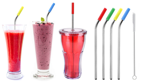 12 Pack of Stainless Steel Straws with Silicone Tips