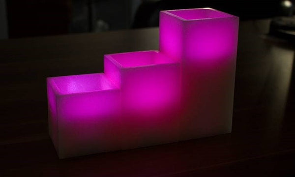 Three LED Flameless Candles With Colour-Changing Function (optional)