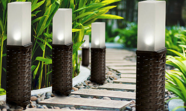 Woven Rattan Post Solar Lights