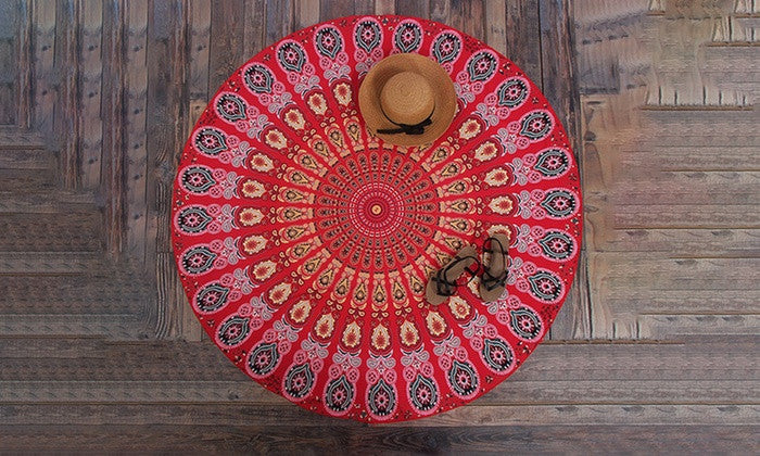 Round Chiffon Aztec Print Beach Throw