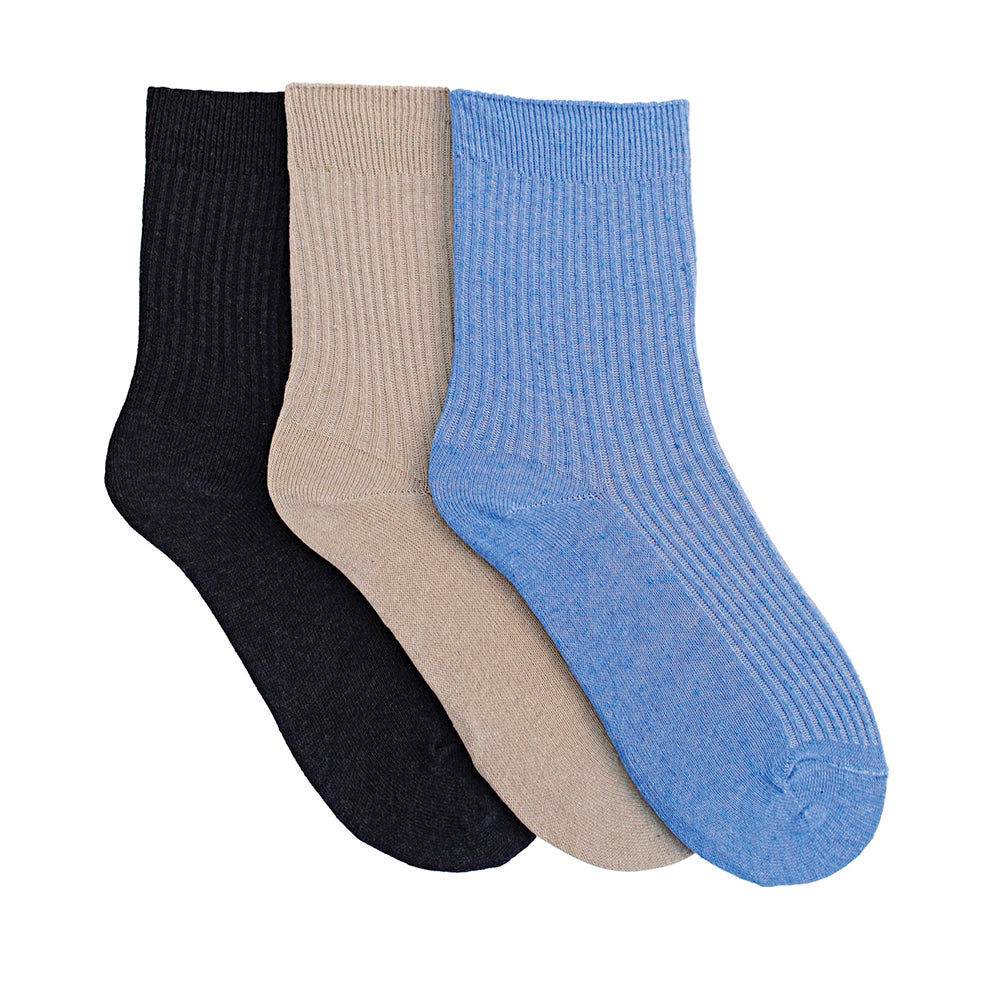 Ladies 3 Pack Cotton Rich Light Elasticated Top Socks