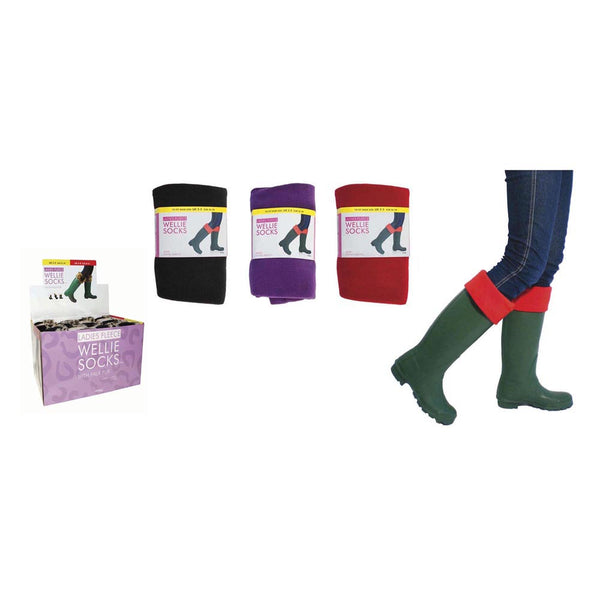 Ladies Fleece Wellington Liner Wellie Socks