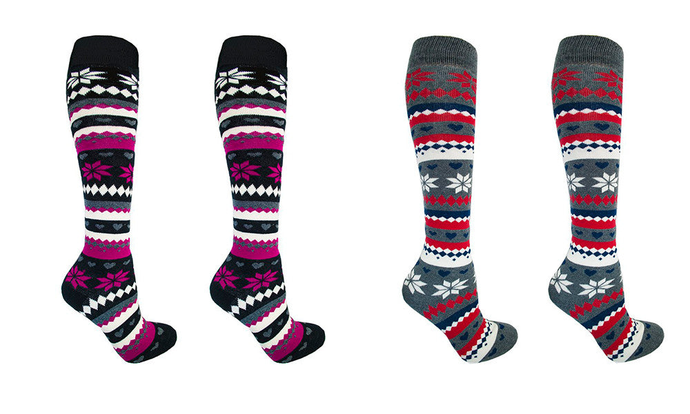 Ladies Cotton Rich Fairisle Design Thermal Knee High Socks
