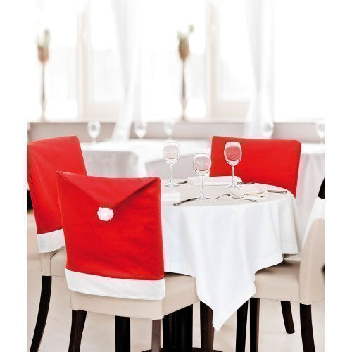 Pack of 2 Red Santa Hat Dining Chair Seat Covers