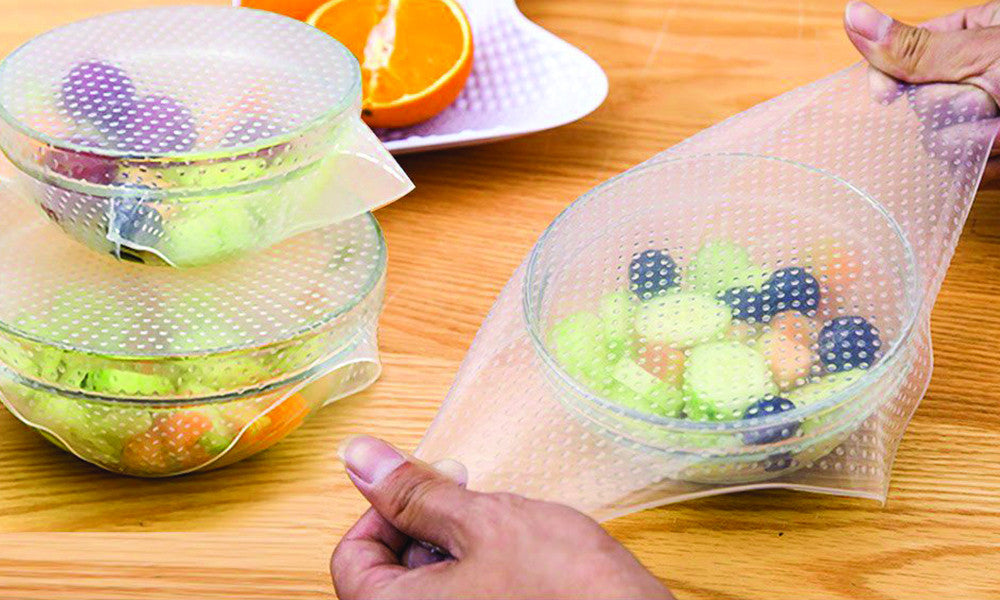 Reusable and Adjustable Silicone Food Covers (4 Pack)
