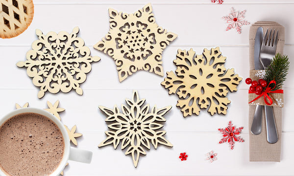 4 Pack for Xmas Wooden Snowflake Coasters