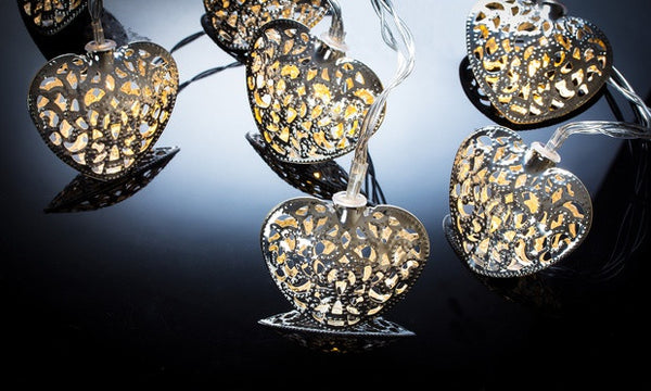 10 Silver Filigree Heart Battery Operated LED Fairy Lights