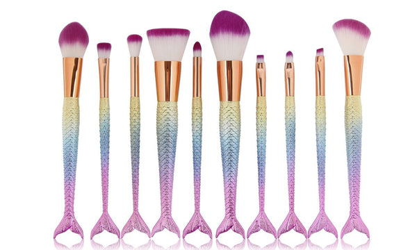 5 or 10pc Mermaid Tail Make Up Brushes