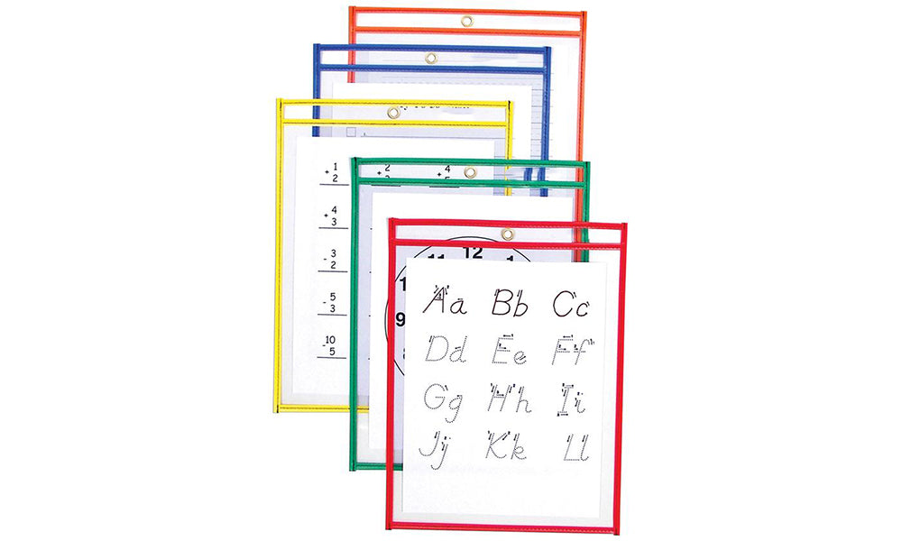 Reusable Dry Erase Study Aid Pouches - 5 Pack