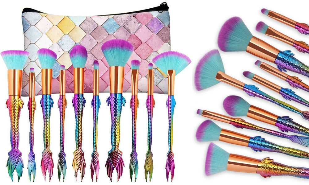 Mermaid Tail and Handle Brushes - with Pouch
