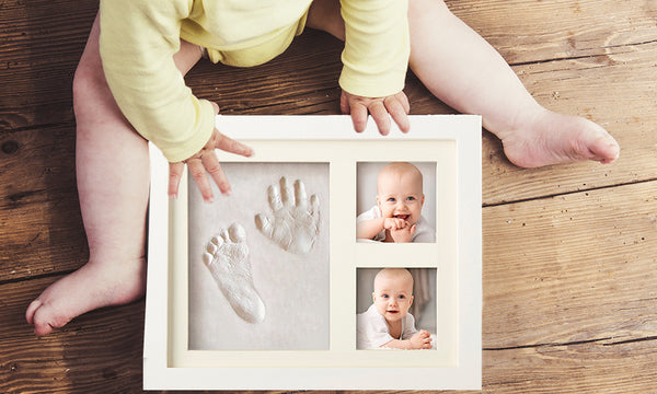 Baby Hand and Footprint Kids Picture Frame - The Perfect Keepsake for a Christmas, Baby Shower or Christening Gift.