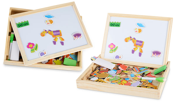 Double Sided Chalkboard & Magnetic Board Educational Puzzle Toy