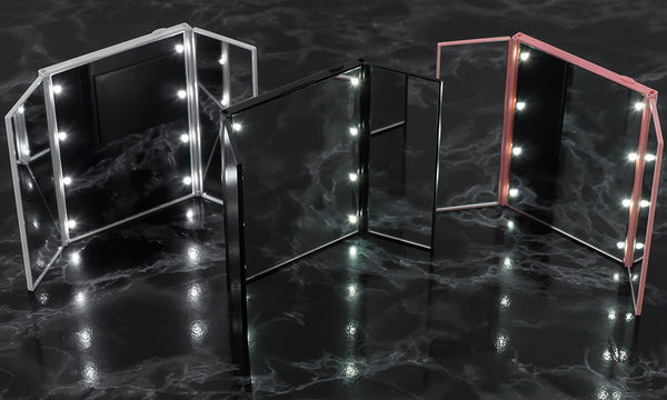GloBrite 8 LED Tri-Fold Mirror with Stand