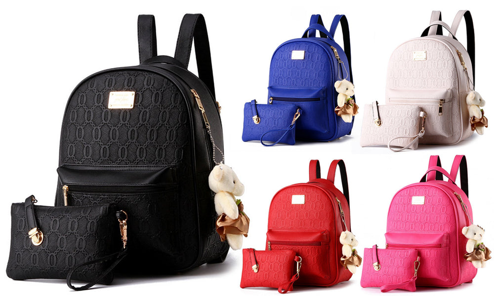 Women's Backpack and Handbag Set With Decorative Teddy
