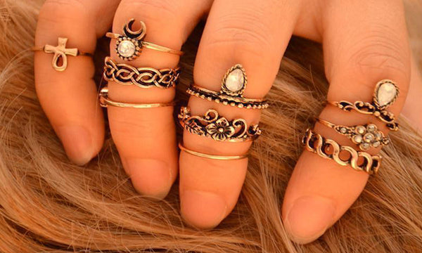 10pc Finger Rings Silver or Gold