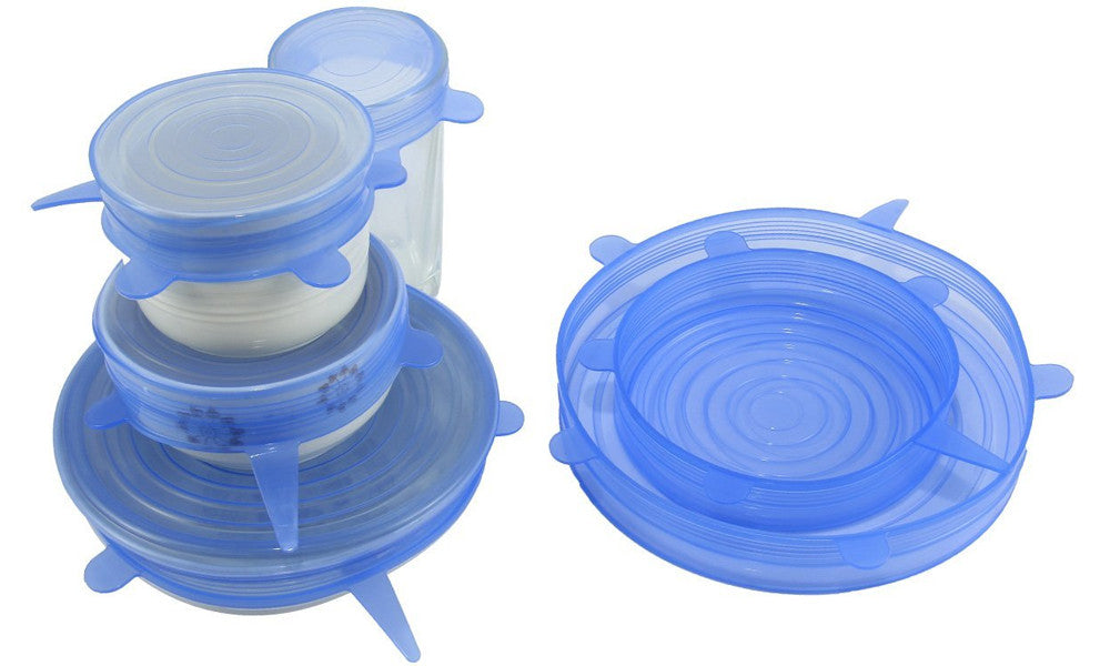 Reusable and Adjustable Silicone Food Covers 6-Pack in Transparent or Blue
