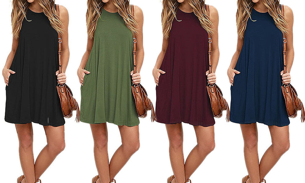 Women's Sleeveless Tunic Dress with Pockets