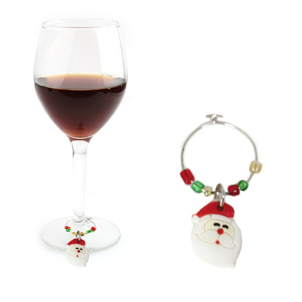 Christmas Wine Glass Charm Decorations (Pack of 6)