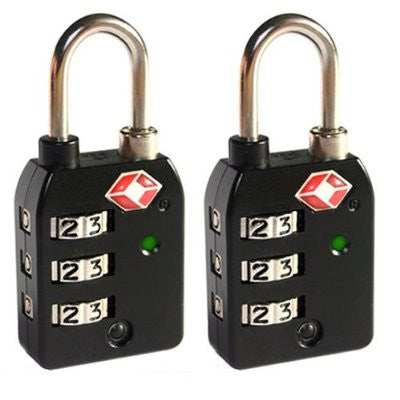 High Security 3-Dial Combination Luggage Locks With SEARCHCHECK (Black)