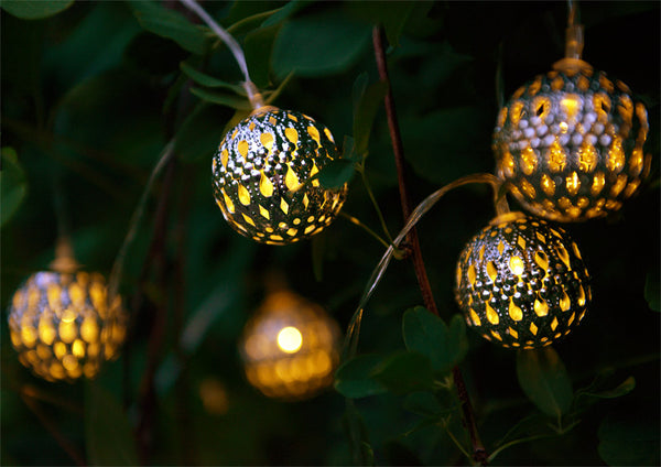 Set of 12 Moroccan Solar String Lanterns LED Fairy Lights Garden Balls