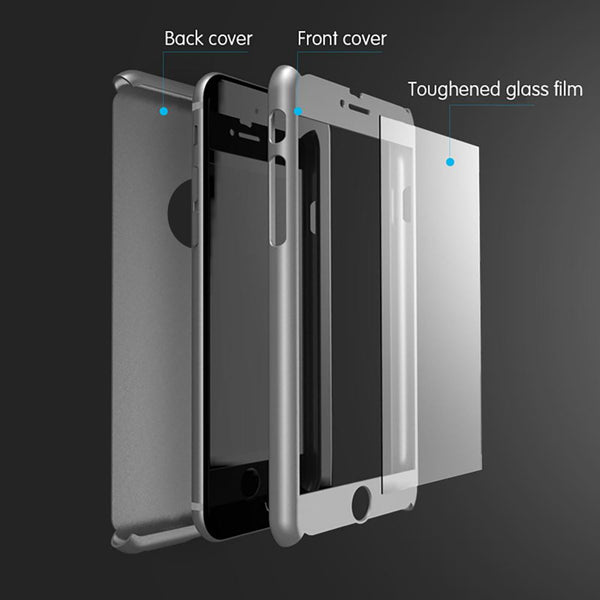 1c3d81ebd541d6 ... Hybrid 360° Hard Ultra thin Case + Tempered Glass Cover For iPhone 6/6S  ...