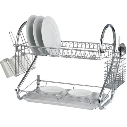 2 Tier S Chrome Dish Drainer Rack