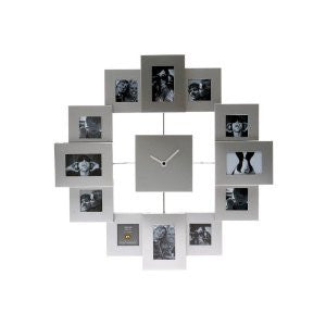 Photo Frame Clock Family Time Brushed, Aluminium Silver