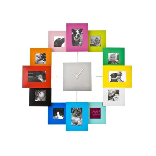 Photo Frame Clock Family Time Brushed, Coloured , Large