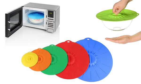 5pc Silicone Suction Lids - Microwavable Dish Covers