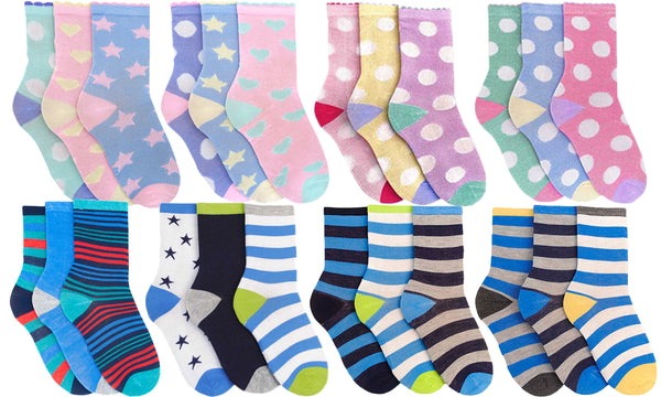 6 Pairs of Kids Assorted Socks