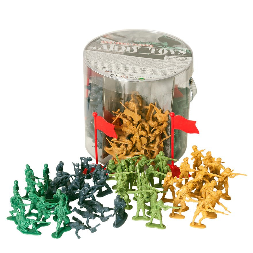 200 Piece Large Bucket of Toy Soldiers in 4 colours with National Flags