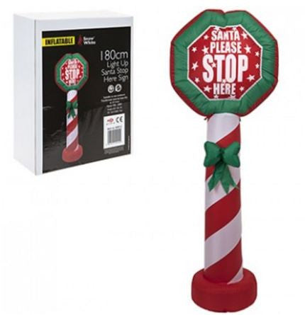 180cm Inflatable Santa Stop Here Sign