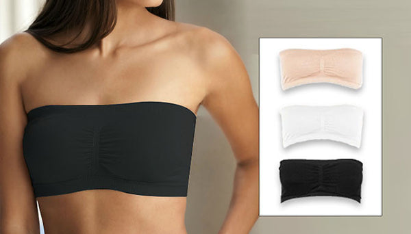 Set of 3 Seamless Bandeau Bras with Removable Pads.