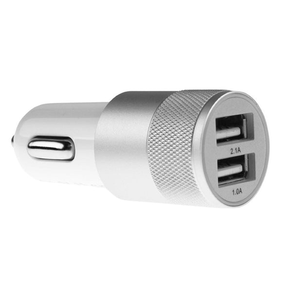 Rapid 2.1 Amp Charging Brushed Aluminium Dual USB Port Car Charger