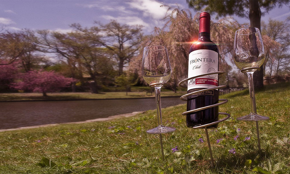 Outdoor Wine Bottle and Glasses Holder
