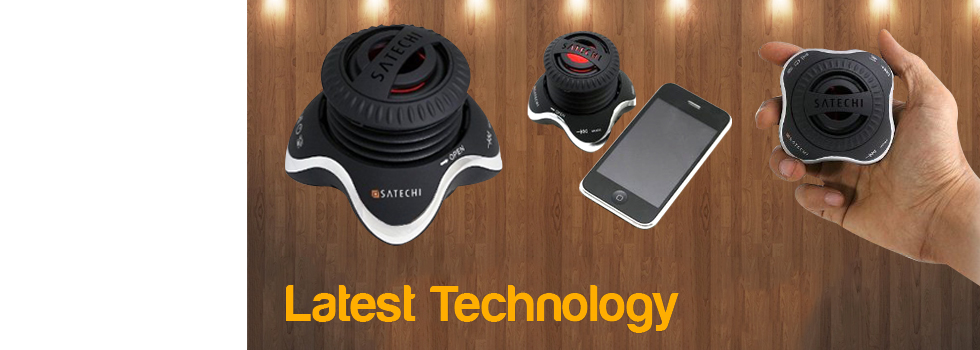 Portable Bluetooth wireless speaker with compact vacuum bass design streams music and hands-free calls.
