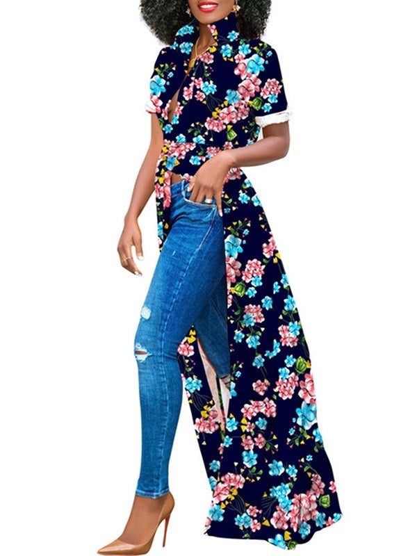 Lace-Up V-Neck Floral Long Short Sleeve Blouse