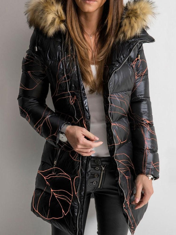 Zipper Print Thick Mid-Length Cotton Padded Jacket