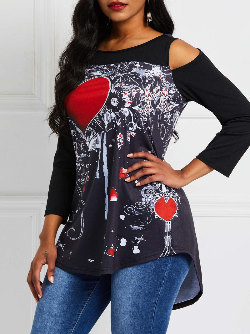 Patchwork Round Neck Heart Shaped Mid-Length Long Sleeve Blouse