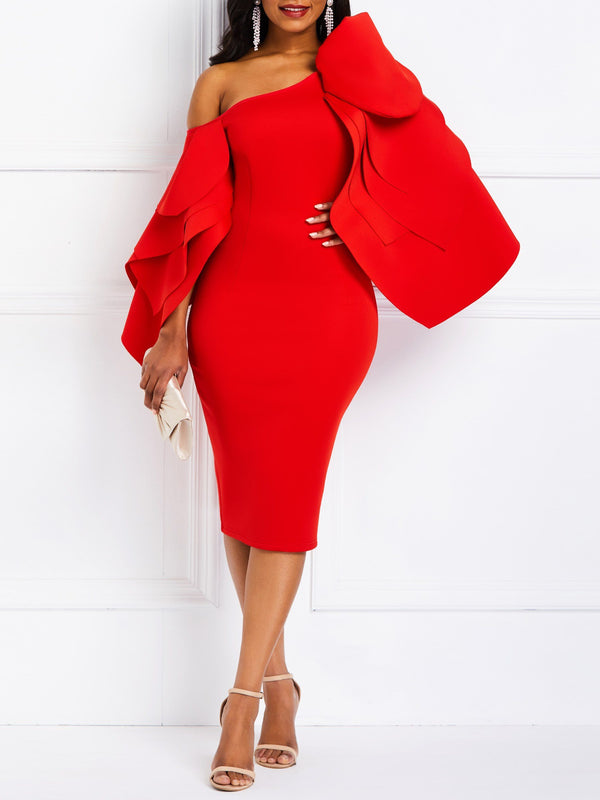 Oblique Collar Long Sleeve Knee-Length Elegant Plain Dress