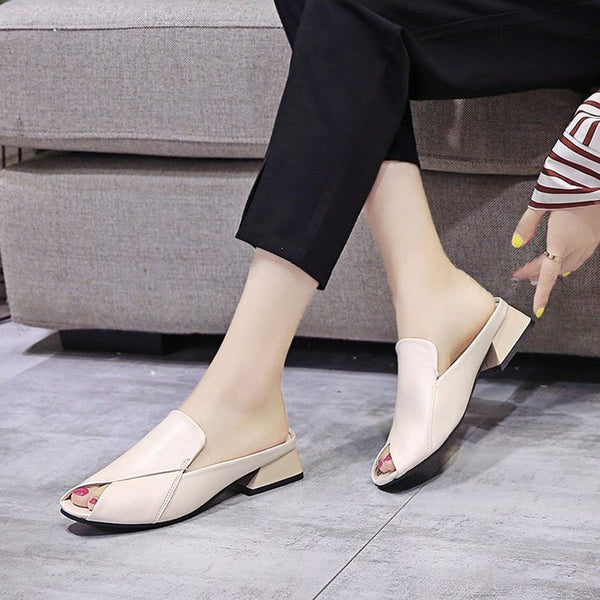 Slip-On Flip Flop Chunky Heel Casual Plain Slippers