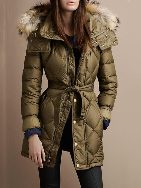 Zipper Slim Mid-Length Cotton Padded Jacket