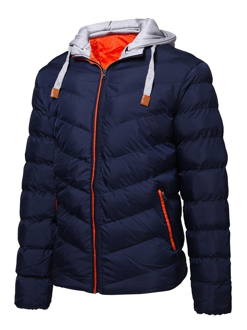 Hooded Standard Plain Zipper European Down Jacket