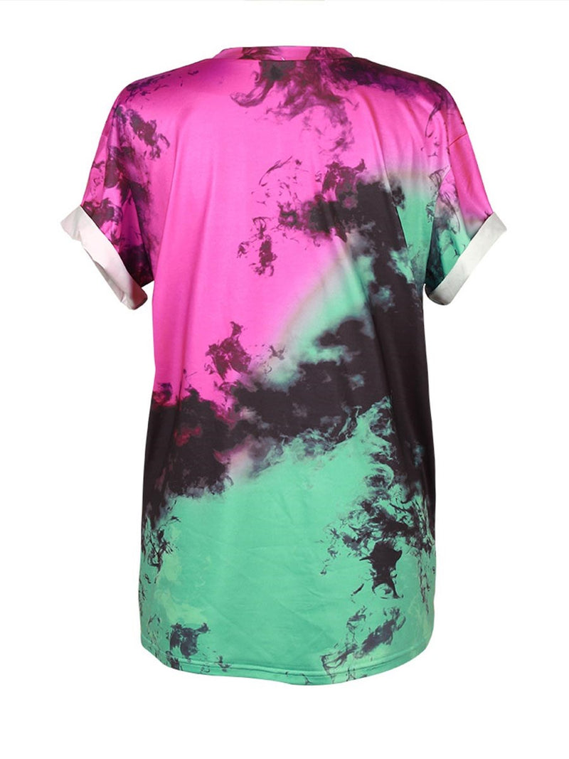 Round Neck Mid-Length Short Sleeve Loose T-Shirt