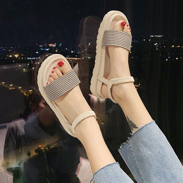 Open Toe Elastic Band Ankle Strap Low-Cut Upper Casual Sandals