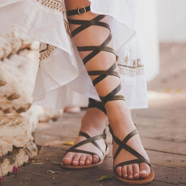 Open Toe Ankle Strap Buckle Plain Casual Sandals